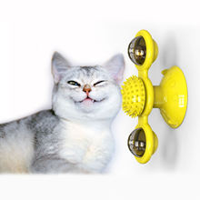 Interactive Turntable Cat Toy with Suction Cup Portable Windmill Scratch Hair Brush Soft Silicone Washable Cat Molar Toy