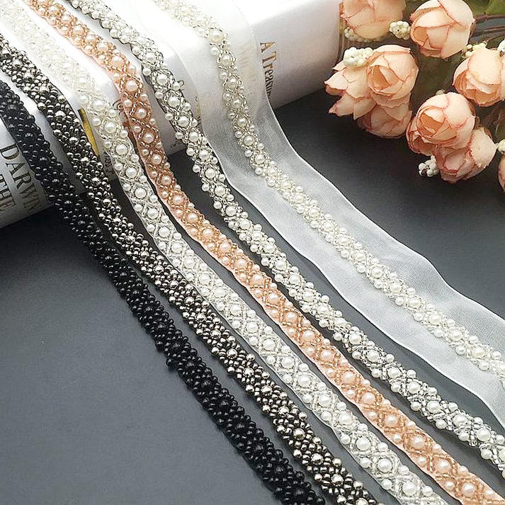 Deepeel AP2563 1cm DIY Clothes Decor Accessories Hand Sewing Lace Trimmings Pearl Voile Beaded Lace