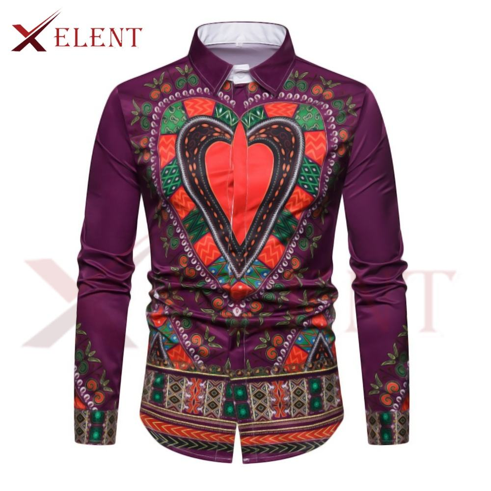 Kente ethnic hippie multi colors flora printed loose fit African clothing java wax men's blouse shirt Dashiki