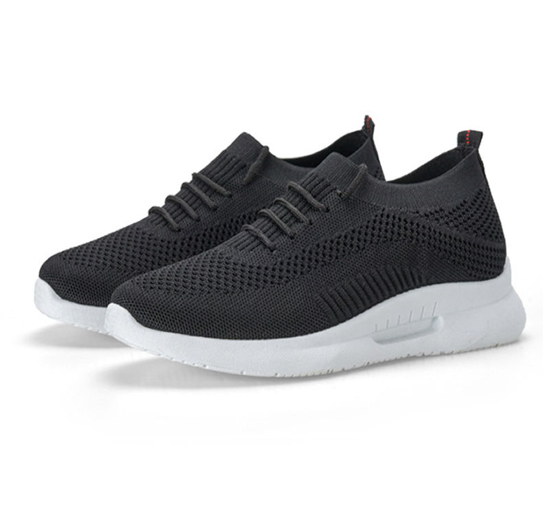Customer Logo knitted walk wear casual shoes womens black sports shoes