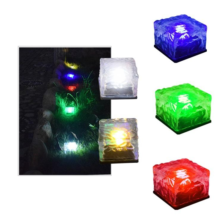 led brick paver light Solar Ice Cube Light Brick Rock Lamp Frosted Glass Landscape Led Lights for Outdoor Decoration Garden