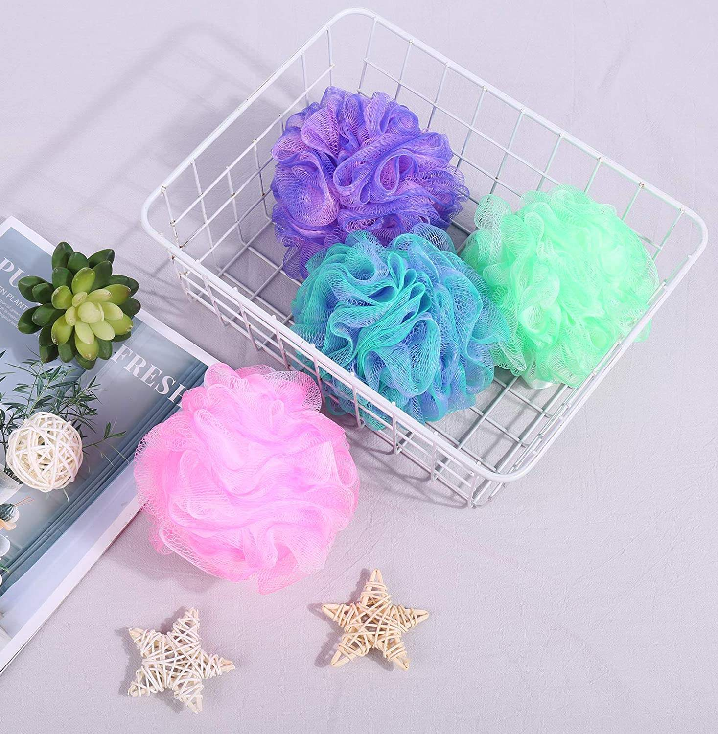 Amazon Hot Selling Flower Shape Natural Foam Loofah Mesh Bath Sponge For Shower