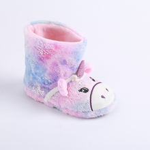 Free Sample Wholesale Winter Children Shoes, New OEM Unicorn Plush Furry Indoor Kid's Boots