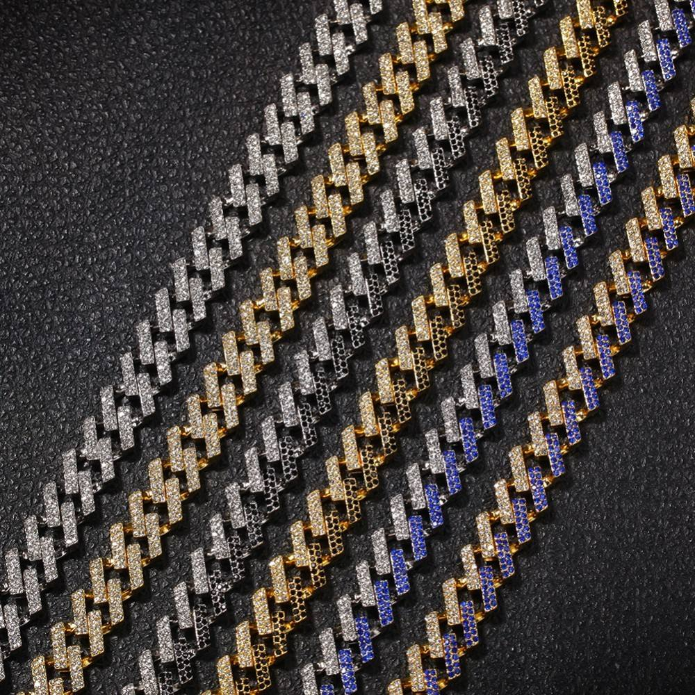 Fashion Iced Prong Cuban Link Chains Necklaces 18K Gold 15mm Mutil-Colored Blue/Black Rhinestones choker punkJewelry Mens