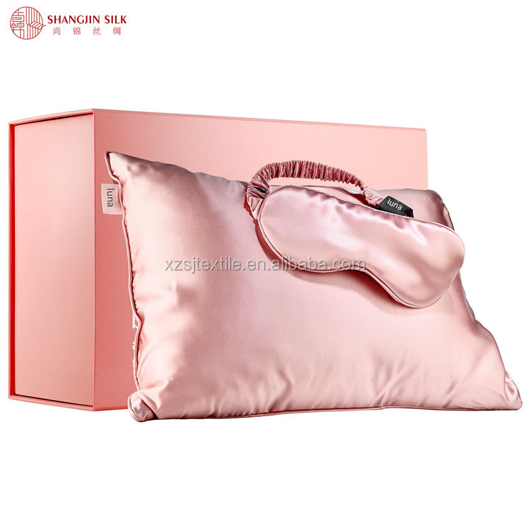 19mm/22mm/25mm Silk Pillow Cover 100% Pure Mulberry Silk Pillow case and Eye mask Gift Set With Customized Box