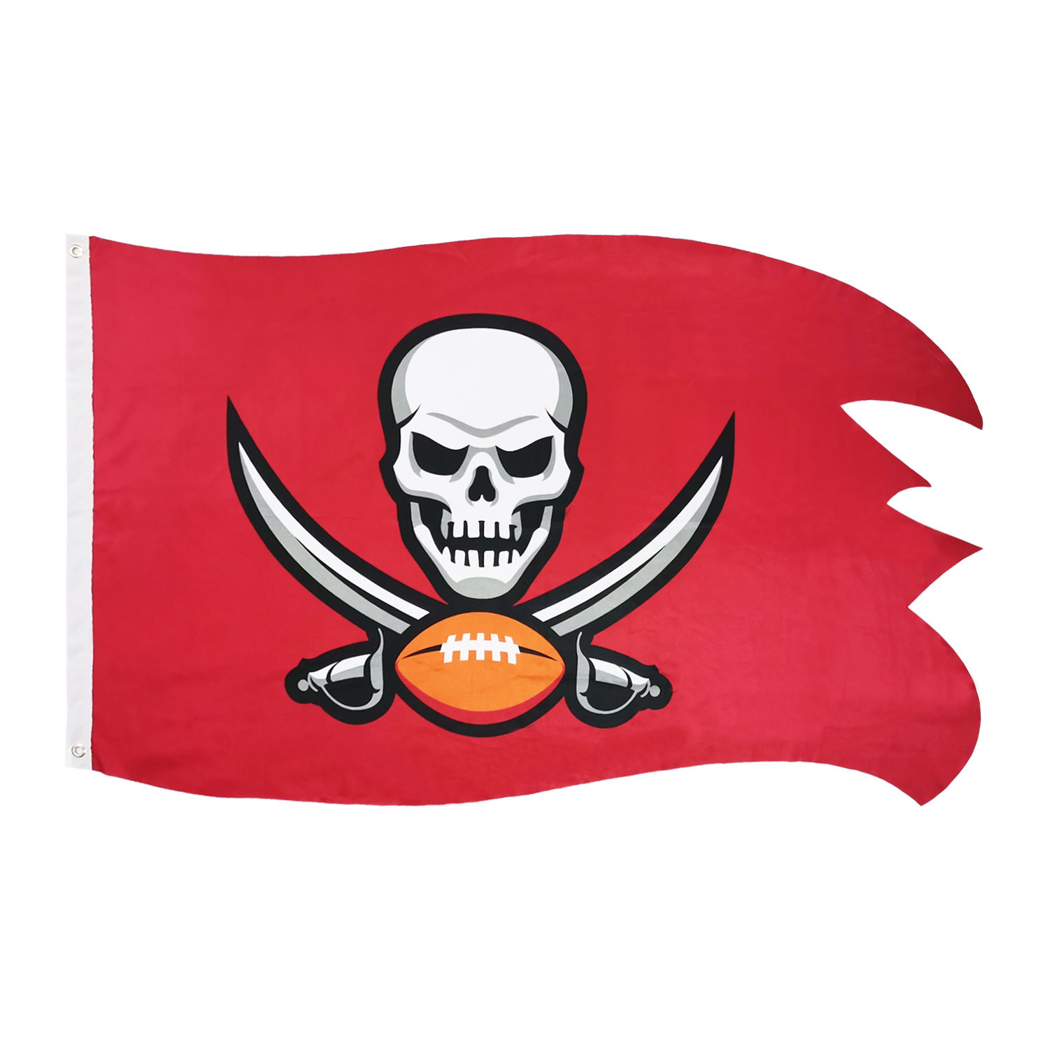 Fast delivery printing knitted polyester irregular red pirates flag banner