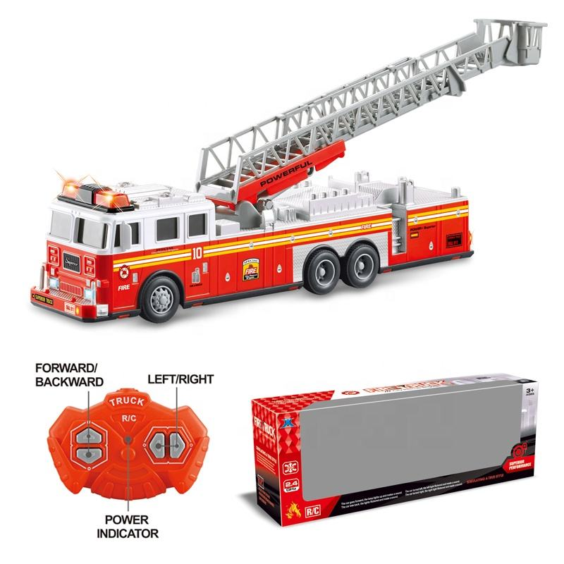 RC Fire Truck Rescue Engine Remote Control Large Kids Toy Fully Functional With Extendable Ladder