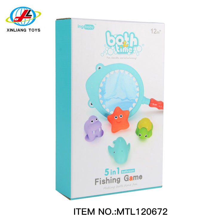Pool bath time for kids fishing floating squirts toy and water scoop 5 in 1 fish net game in bathroom