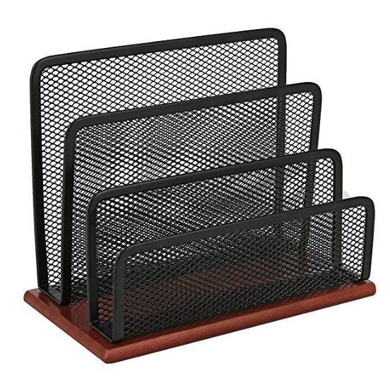 Black mesh Letter sorter with wood base