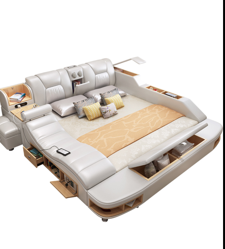 Modern Bed with Storage Massage Functions Multifunctional With Storage Home Bedroom WJX-A008