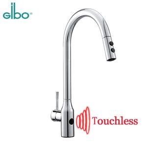 New GIBO 304 stainless steel pull out automatic sensor black Kitchen sink faucet