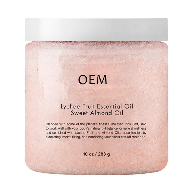 Free sample Pink Fruits face Body Himalayan Salt Scrub Sweet Oil Moisturizes Soothes Removes Dead Skin Exfoliating scrub