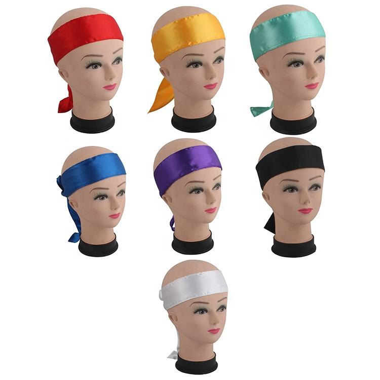 Ribbon [ Hair ] Wholesale Custom Logo Hairband Silk Hair Wrap Satin Head Wrap For Women/