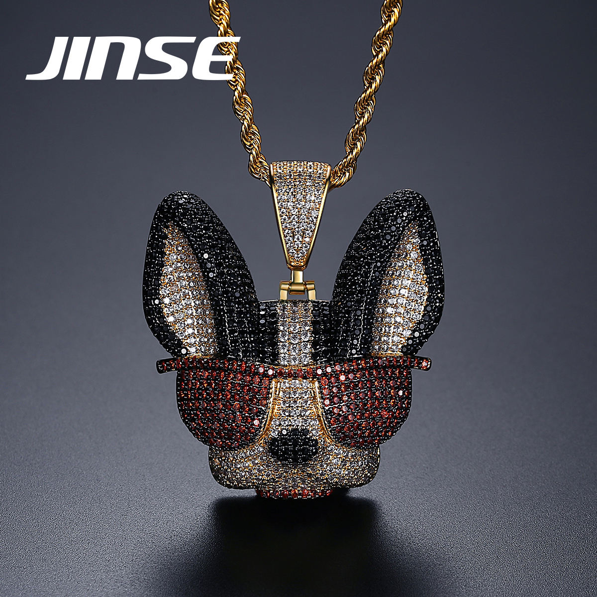 JINSE Fashion Jewellery Manufacturer Animal Dog Pendant Necklace Hip Hop Jewelry Women