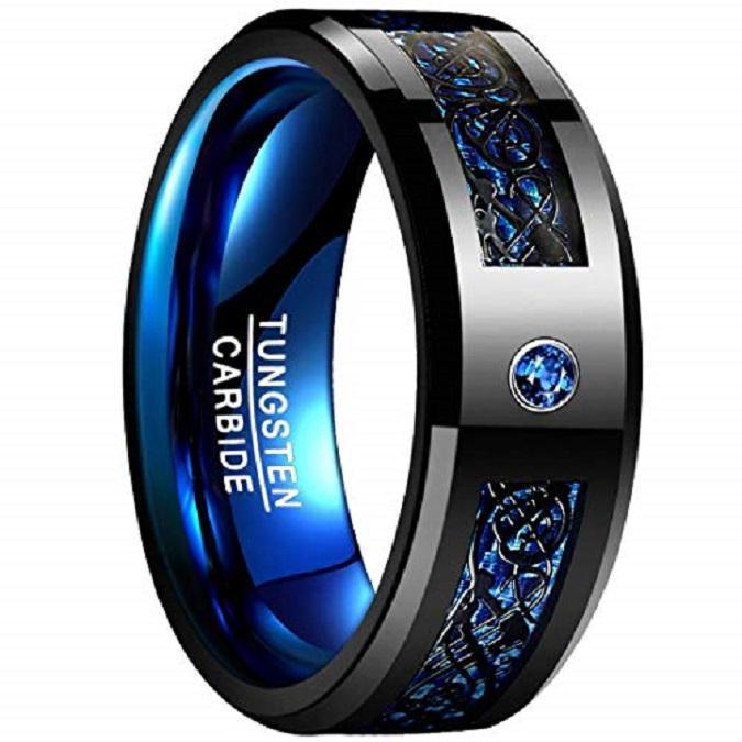 Мужское синее углеродное волокно Черное кольцо из карбида вольфрама с кельтским драконом