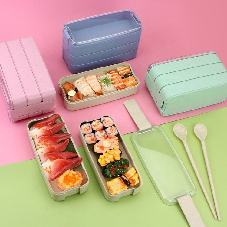 3 layers Practical Japanese Bento Box Eco-Friendly Wheat Straw Lunch Box For Girls Fitness