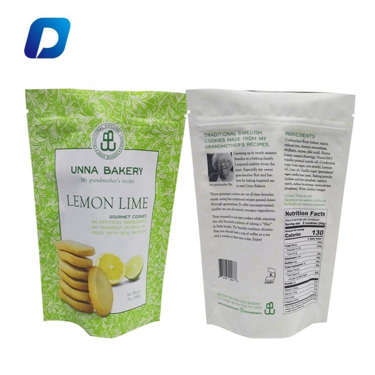 Free sample custom printed self-sealing stand up pouch plastic packaging food bag with zipper