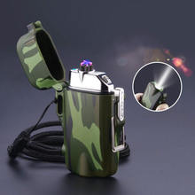 Outdoor Camouflage Waterproof Double Arc Pulse Lighter Electric Plasma Windproof Cigarette Lighter USB Charging Electric Lighter