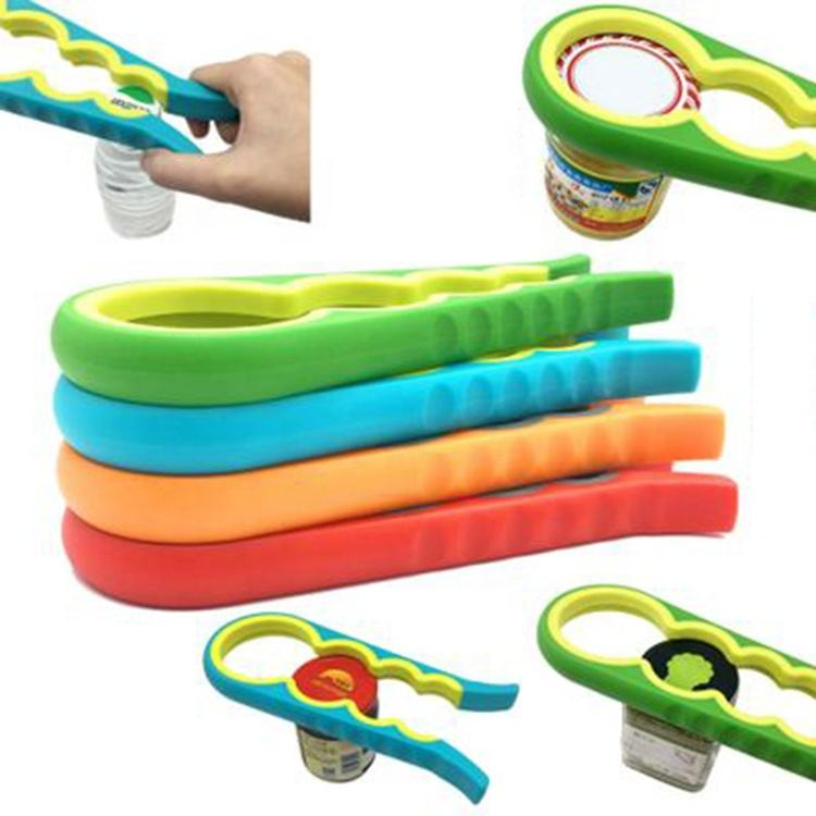 New adjustable colorful Multi-function 4 In 1Manual Plastic Jar Can Bottle Opener