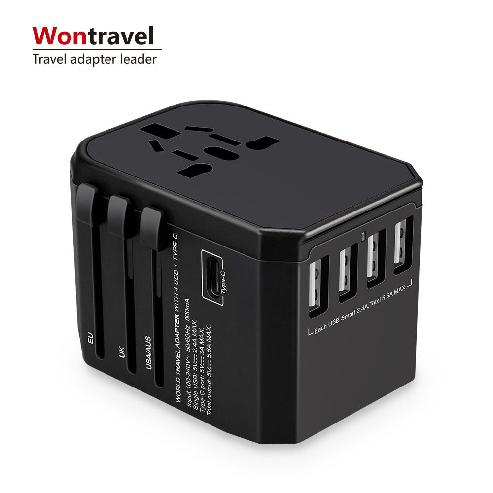 패션 휴대용 world universal travel 어댑터 와 네 usb 및 형-c smart USB charger electrical plug socket
