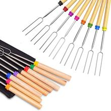 Marshmallow Roasting Sticks- 8 pcs BBQ Extendable forks-32-Inch Telescopic Sticks with Wooden Handle for Outdoor Barbecue Grill