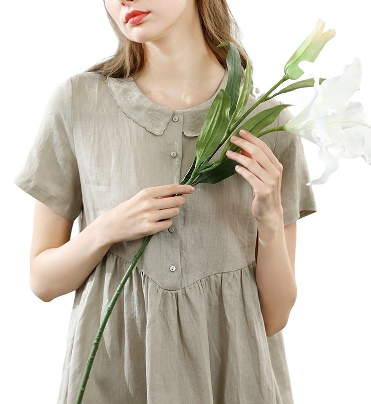 OEM ODM Custom summer dresses women casual linen dress