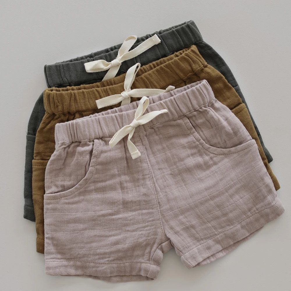 High quality private label organic cotton muslin toddler baby organic shorts