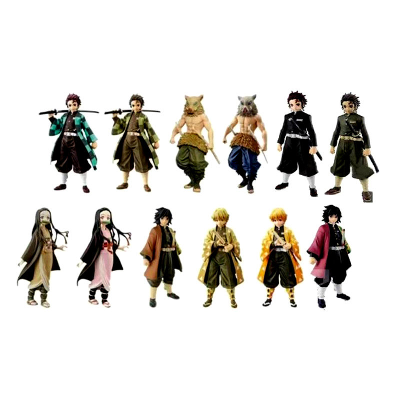 12 pcs Oem custom manufacturer Kimetsu no Yaiba Agatsuma Zenitsu kamado tanjirou demon slayer figure demon slayer