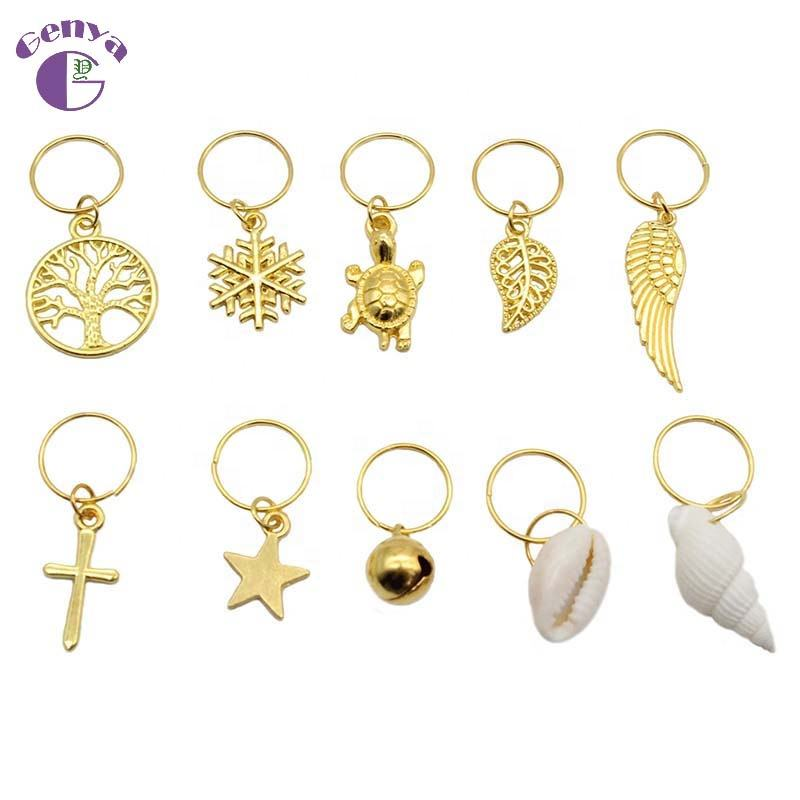 Genya Hair Braid Rings Metal Hair Cuffs Copper Hair Dreadlocks And Pendant Charms Golden jewelry