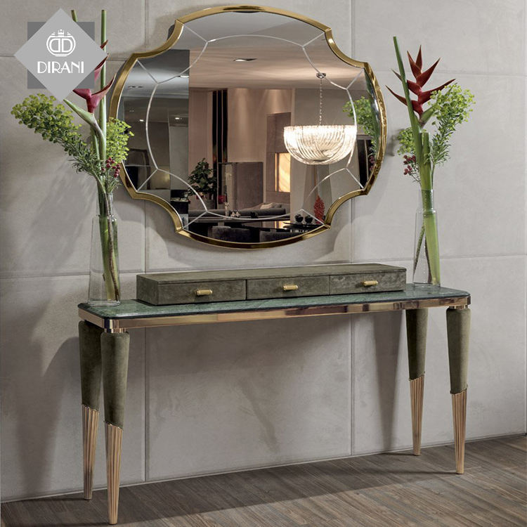 luxury Italian odette silver modern marble top console table drawer mirrored hallway console table with mirror