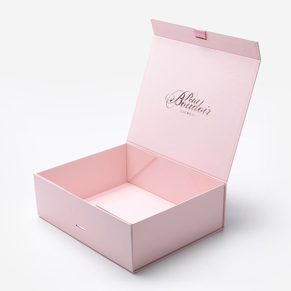 Custom Cardboard Folding Gift Box With Ribbon Closure