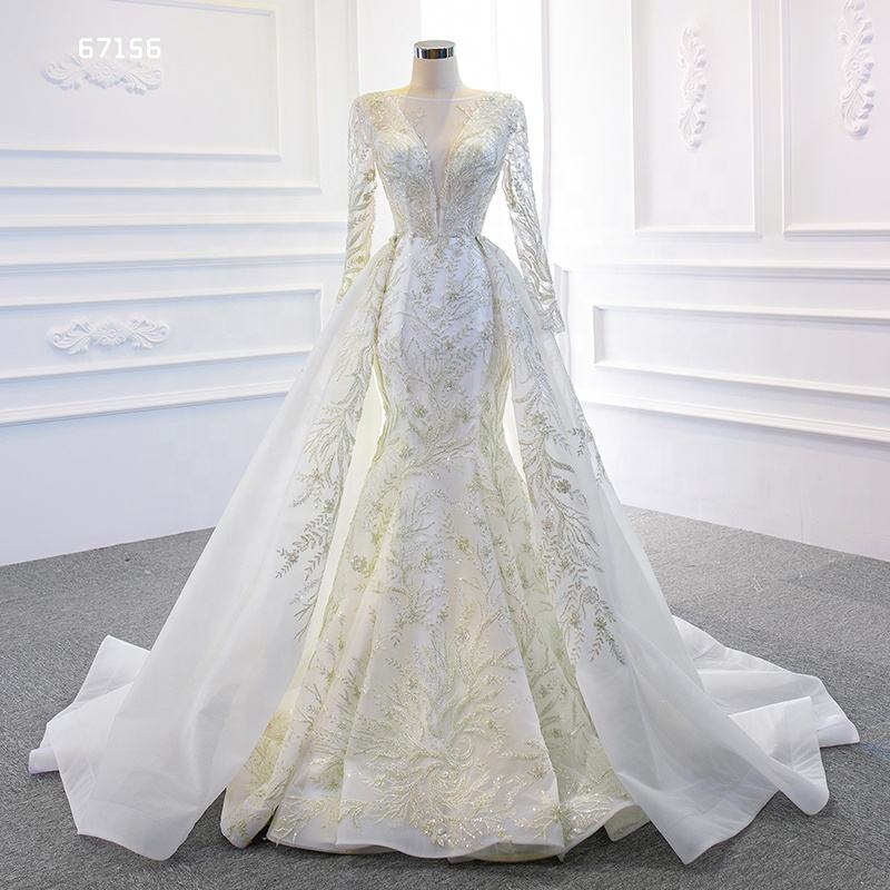 Jancember ARSM67156 Mermaid Long Sleeve Applique Wedding Dress With Detachable Train