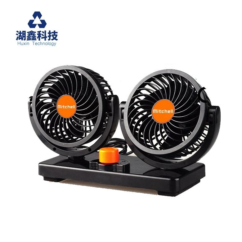 Car Fans Mitchell Hot Selling Auto Oscillating 24V Vehicle Fan 360 Dual Low Noise Fan 4 Inch Truck Cooling Double Electrical Car Fans