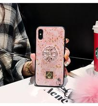 Luxury cute color pink transparent glitter marble 3D diamond bracket cute silicone phone case for iphone X XR XS MAX 7 8 plus 6S