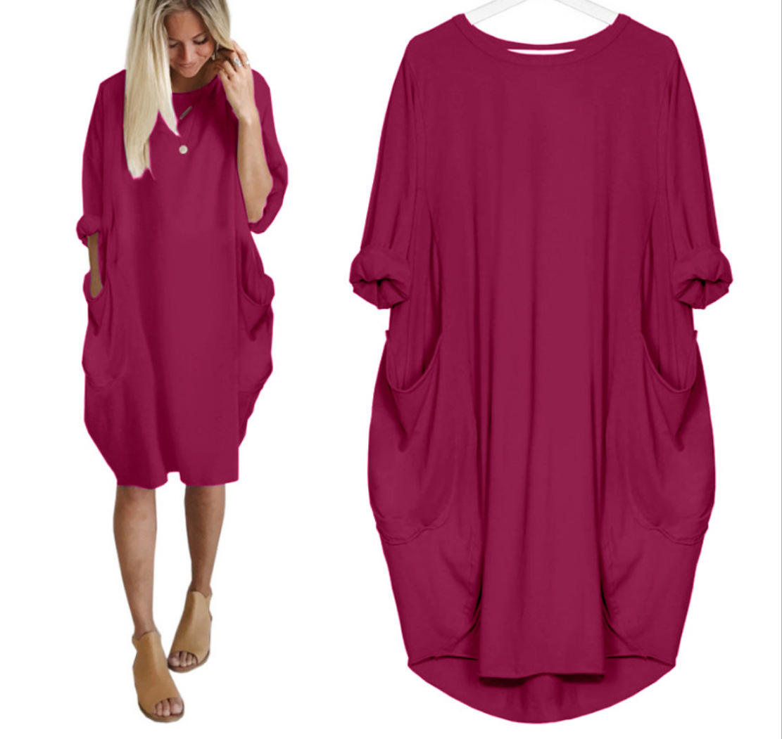Summer dresses women clothes casual big size plus dress Women's T shirt Loose Long Tops Casual Oversized Baggy Long Sleeve dress