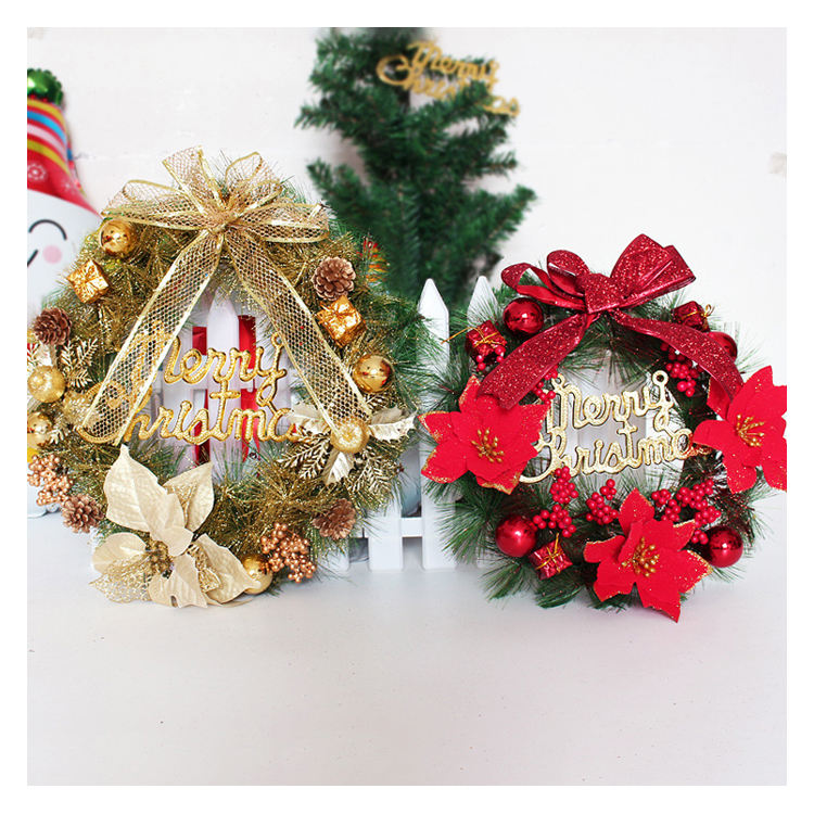 Hanging Wreath Ornaments Bells Berries Bowknot Outdoor House Wall Christmas Decorations