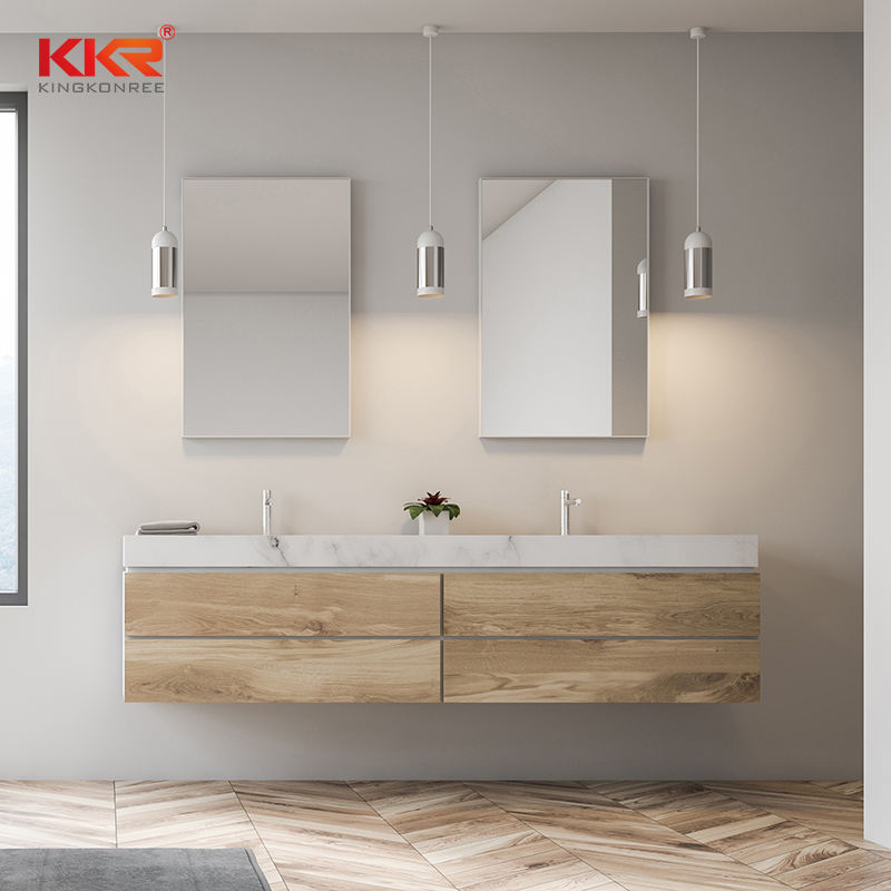 Kunden spezifisches Badezimmer Modern Resin Stone Cabinet Basin Acryl Solid Surface Stone Vanity Sink
