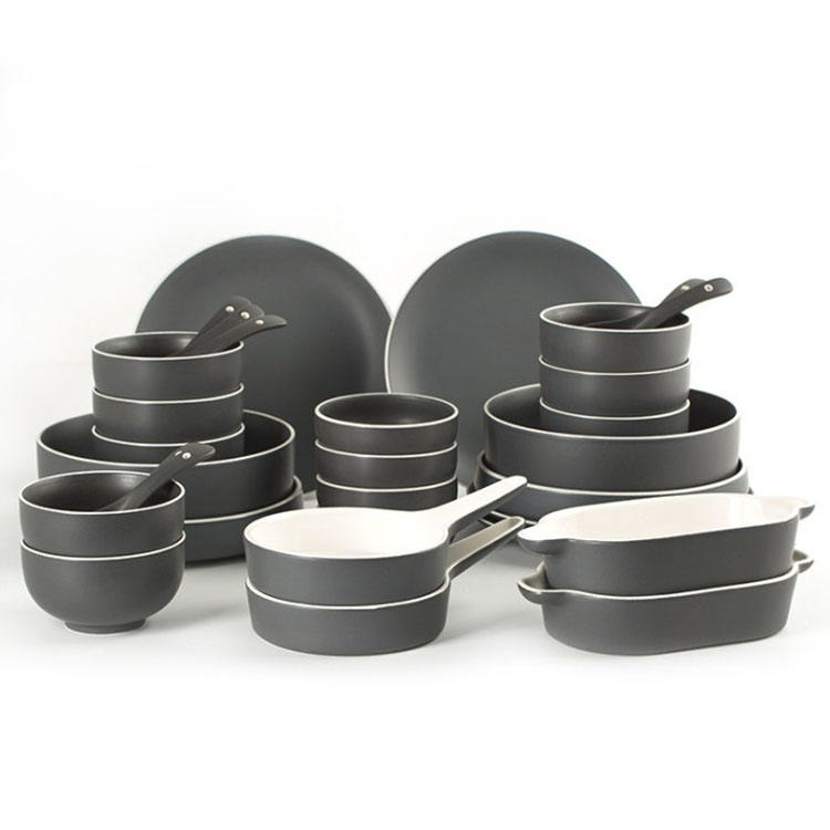 High grade bone china dinnerware sets 2-6 persons rice soup bowl steak plate dishes family set