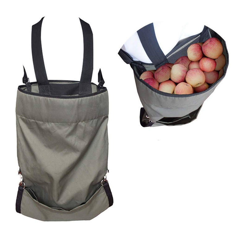 Heavy Duty Adjustable Waterproof Garden Apple Fruit Vegetable Harvest Picking Apron Pouch Bag with Deep Pocket