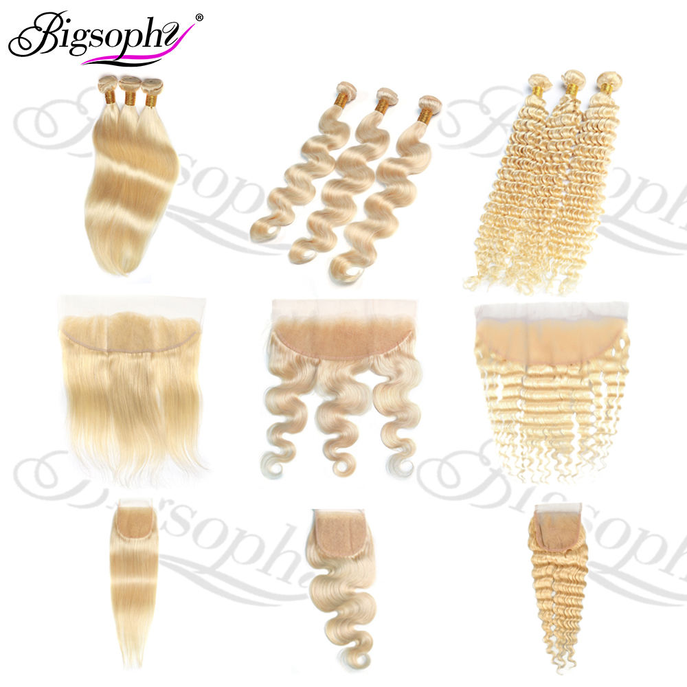 Wholesale 613 Blonde Bundles With 13*4 Frontal,5*5 Closure Human Virgin Hair,Transparent Lace Silk Staight/Body/Deep Wave/Curly