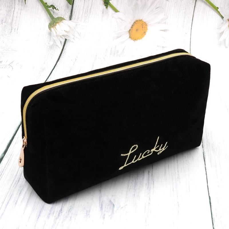 Suede Velvet Custom Pouch Luxury Beauty Makeup Bag Zipper Closure Travel Professional Cosmetic Bag Black with Embroidery Logo