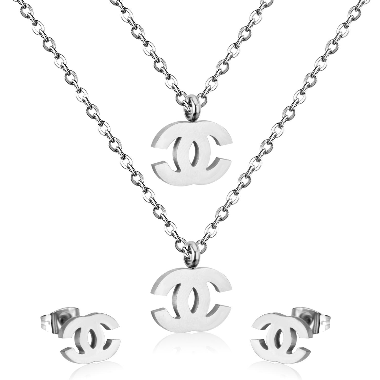 New Brand Stainless Steel Jewelry Sets Double Chain Necklace design with brand stud earrings for women