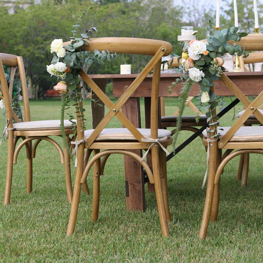 Rustic stackable wedding party event wooden cross back chair with rattan seat