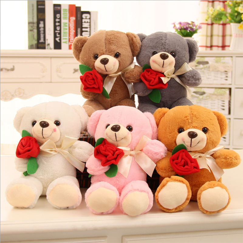 Kawaii 10 inches White Rose Teddy Bear Soft Stuffed Plush Toys Flower for Chirldren Christmas Valentine Gift 4 Colors