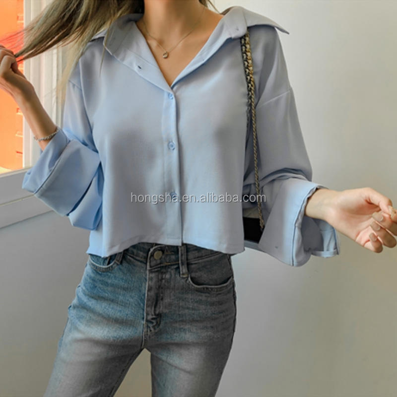 Korean Style Women Clothes Sky Blue Cropped Loose Shirts Business Stylish Best Basic Plus Size Blouses Career Women Tops HSS9840