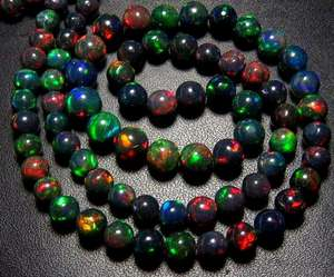 Natural Ethiopian Welo Black Opal Plain Round Shape loose gemstone multi-fire Beads making jewelry wholesale price