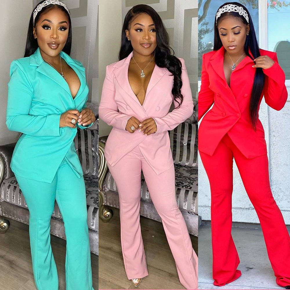 2020 Fashion Elegant New Style Candy Color Formal Blazer and leggings 2 Piece Set for Women Casual Suits Set