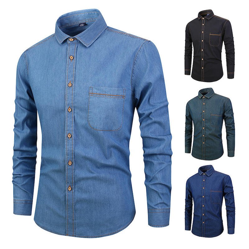 Shirts Factory OEM Casual Vintage Linen Solid Color Denim Dress Shirts For Men