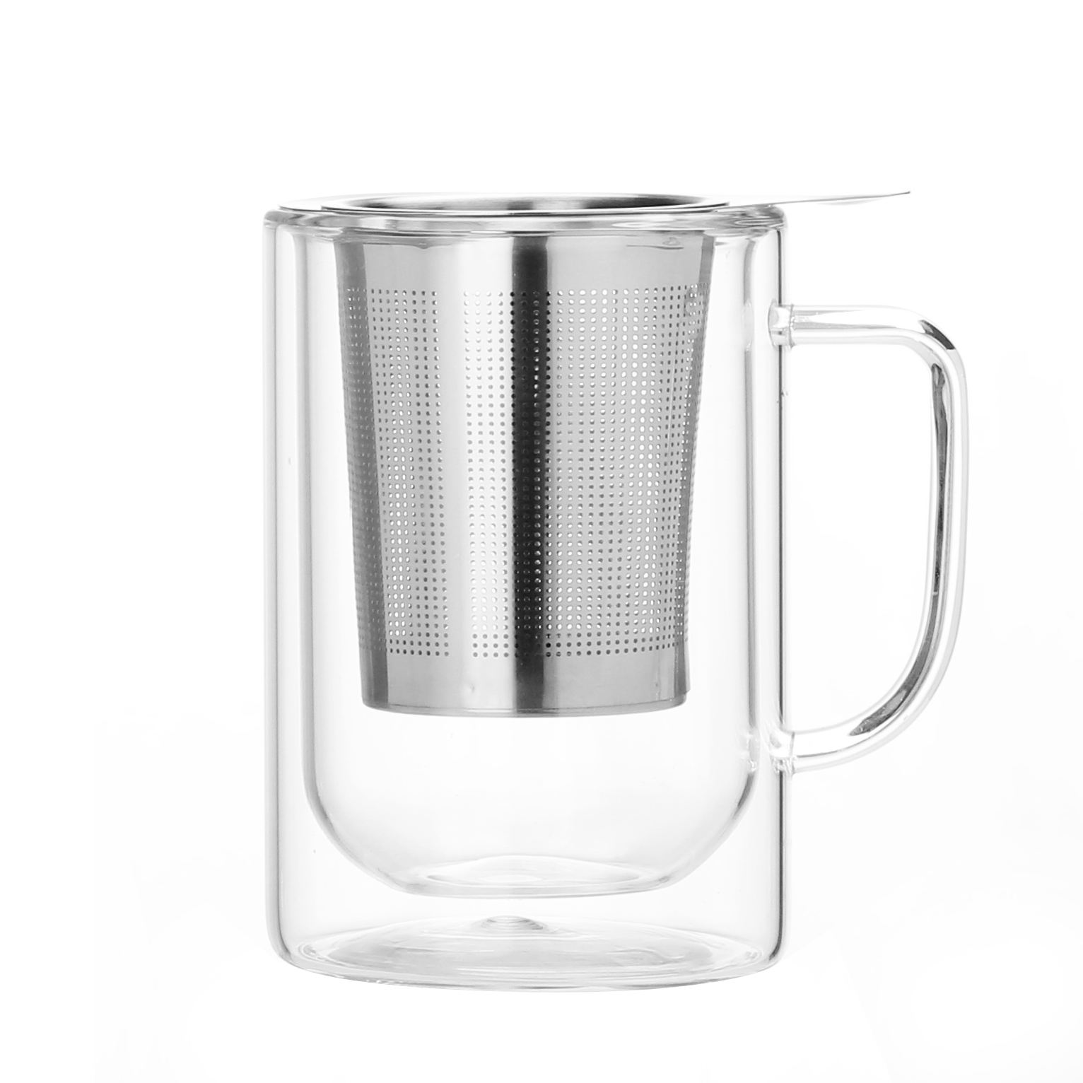 Double Wall Glass Food Grade Glass Cup Personalized Glass Cups Tea Cup with Infuser