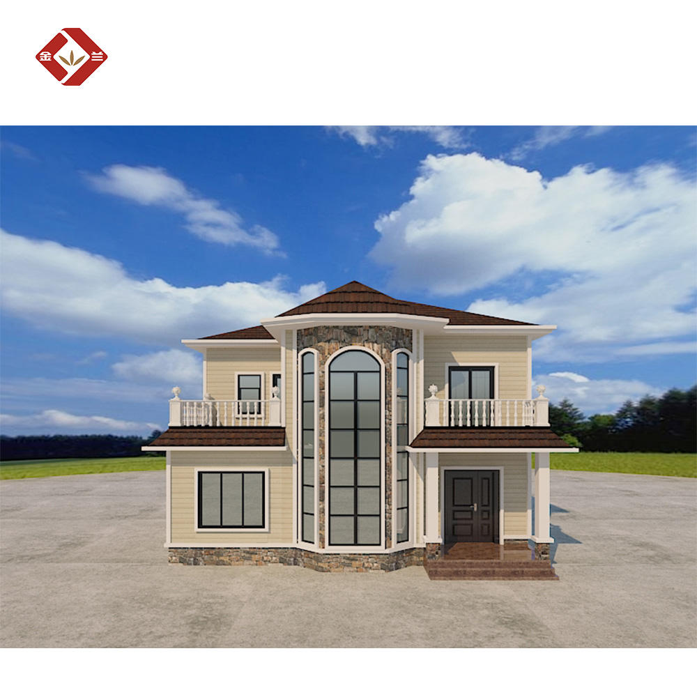 Hot sale 2 story luxury homes low cost light steel frame prefab house prefabricated house